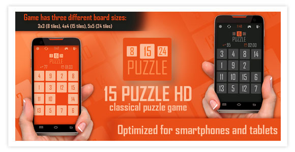 Free game for android and ios - 15 puzzle HD. Classical puzzle game. Fifteen Puzzle.