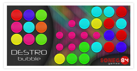 Free game for android - Destro Bubble. Smash bubbles by selecting a color group of bubbles and click to destroy them.