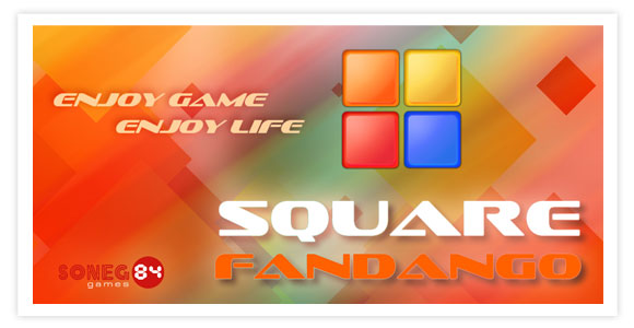 Free game for android - Square Fandango. Crush squares by touching group of colors.